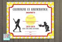 Free softball Certificate Templates 1