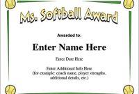 Free softball Certificate Templates 11