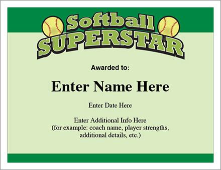 Free Softball Certificate Templates 5