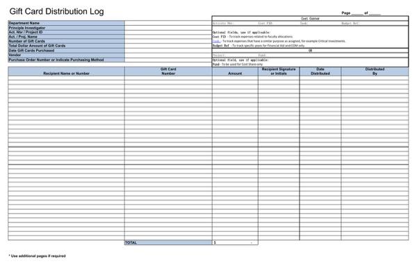 Gift Certificate Log Template 4