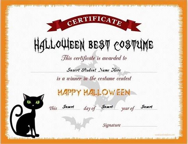 Halloween Costume Certificate Template 2