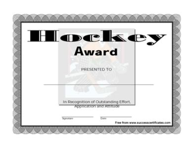 Hockey Certificate Templates 0