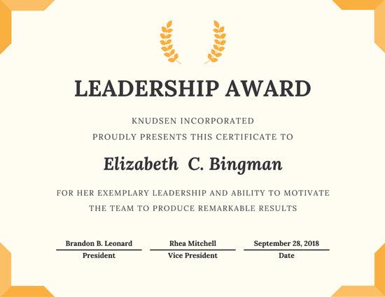 Leadership Award Certificate Template