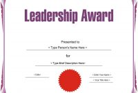 Leadership Award Certificate Template8