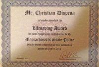 Life Saving Award Certificate Template 5