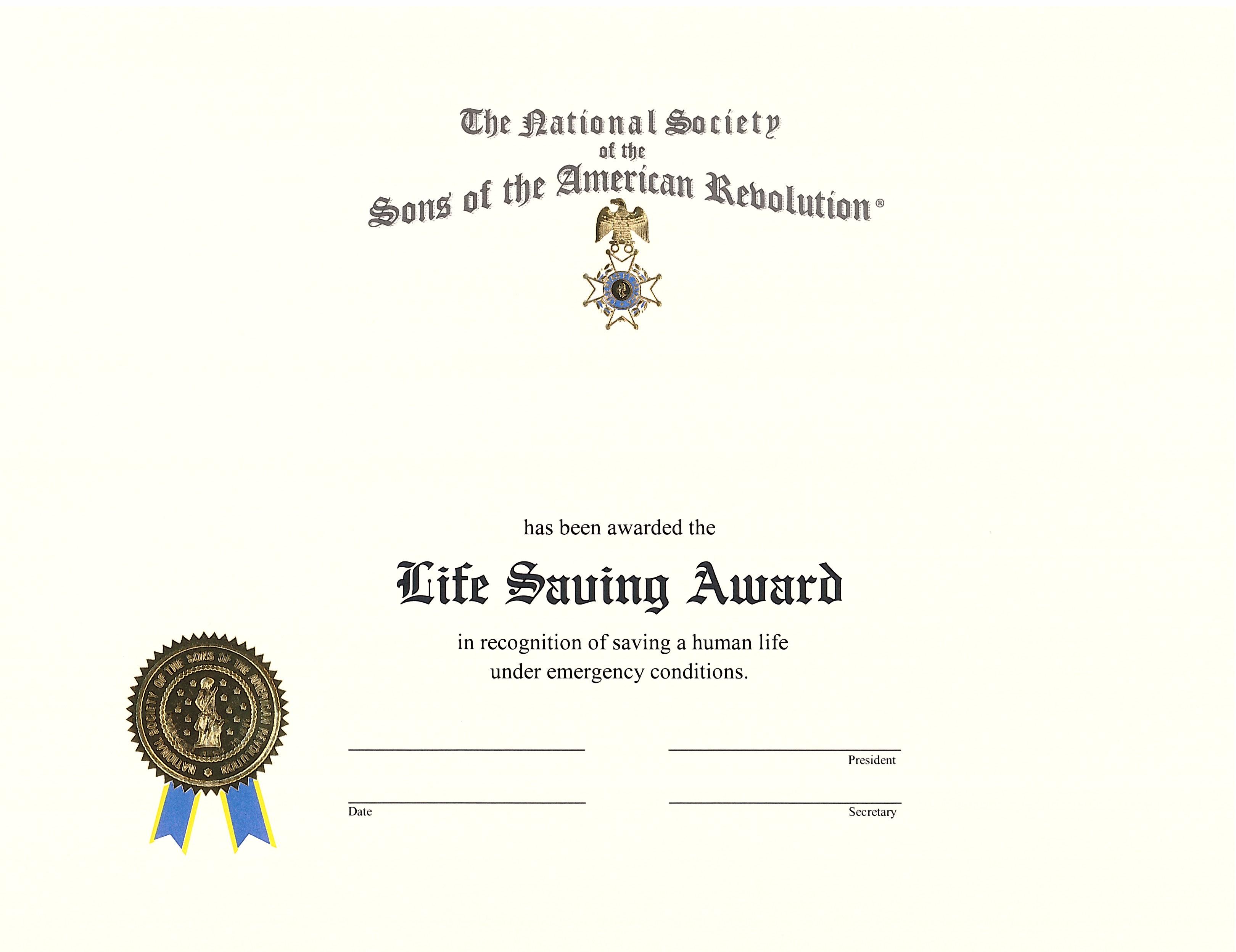 Life Saving Award Certificate Template 7