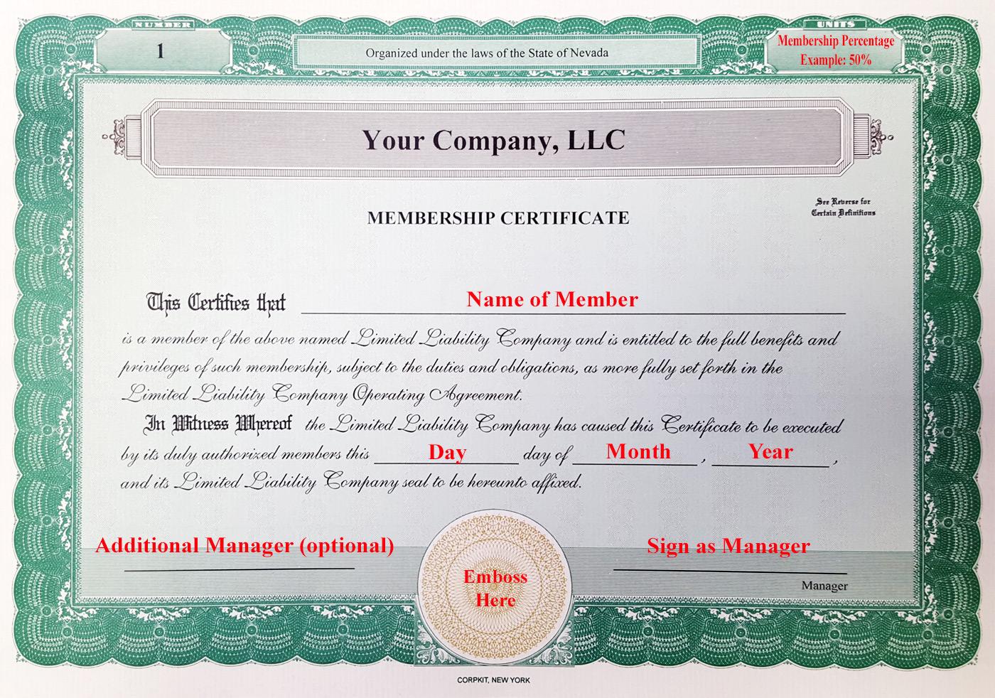 Llc Membership Certificate Template 5