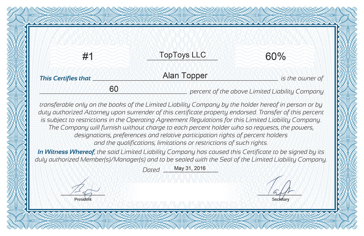 Llc Membership Certificate Template 8