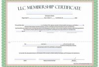 Llc Membership Certificate Template 9
