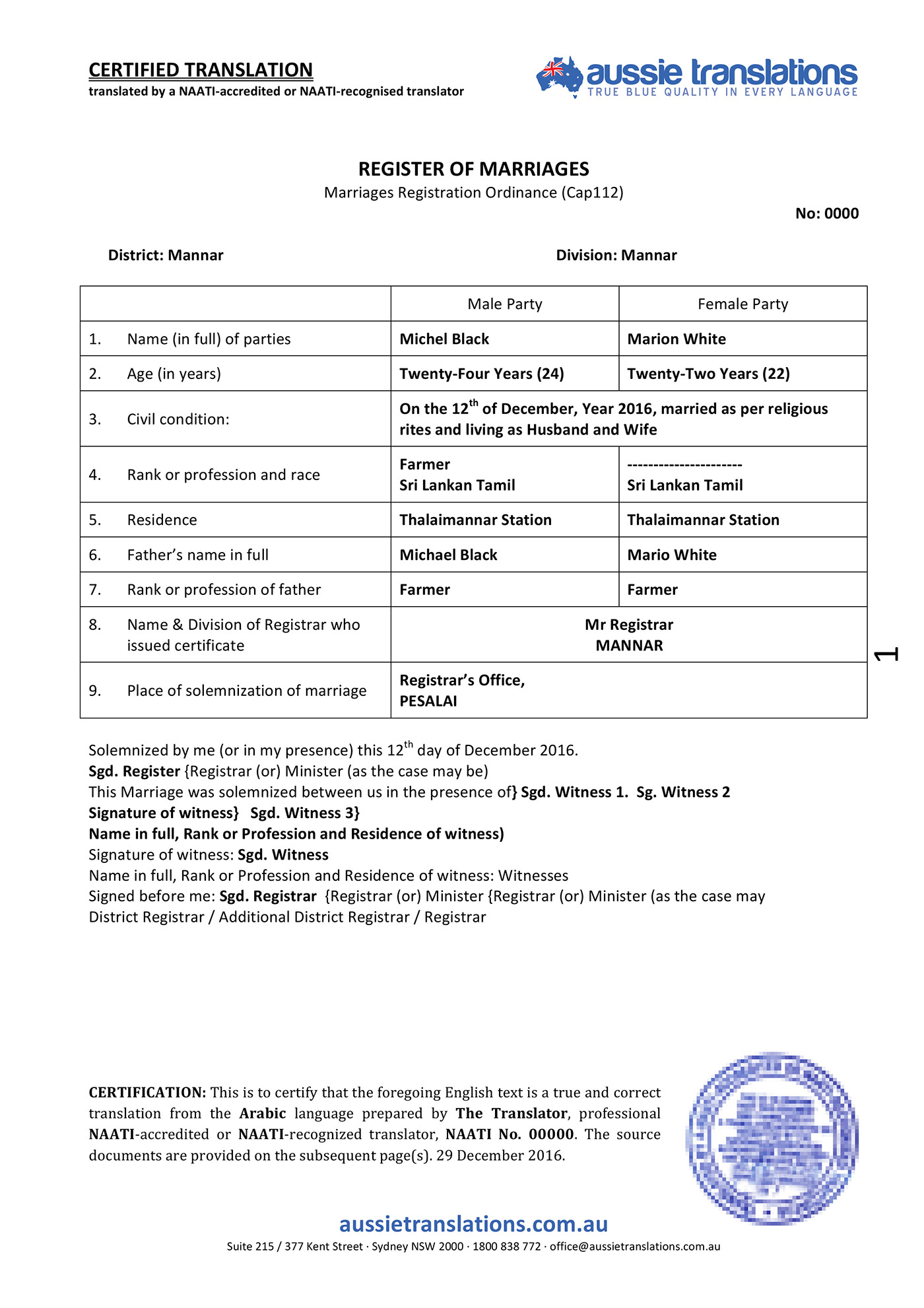 Marriage Certificate Translation Template 3