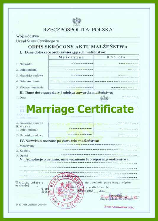 Marriage Certificate Translation Template 6