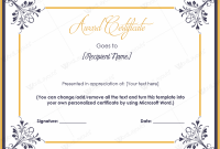 Microsoft Word Award Certificate Template 0