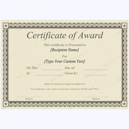 Microsoft Word Award Certificate Template 12