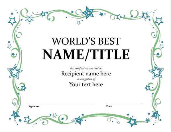 Microsoft Word Award Certificate Template 6