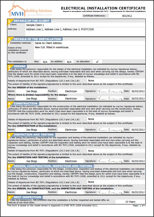 Minor Electrical Installation Works Certificate Template 11