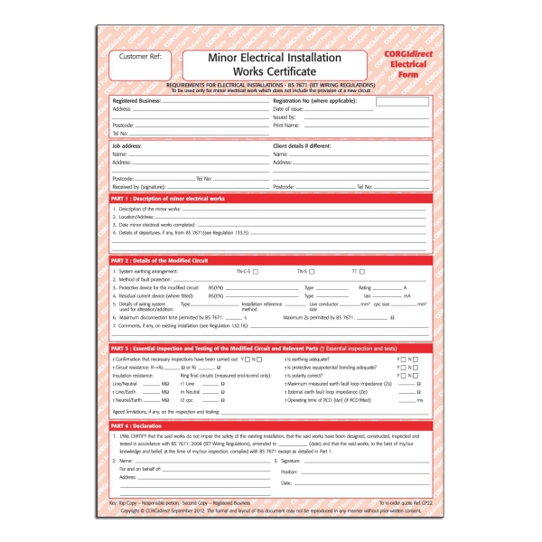 Minor Electrical Installation Works Certificate Template 5