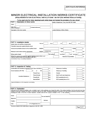 Minor Electrical Installation Works Certificate Template 6