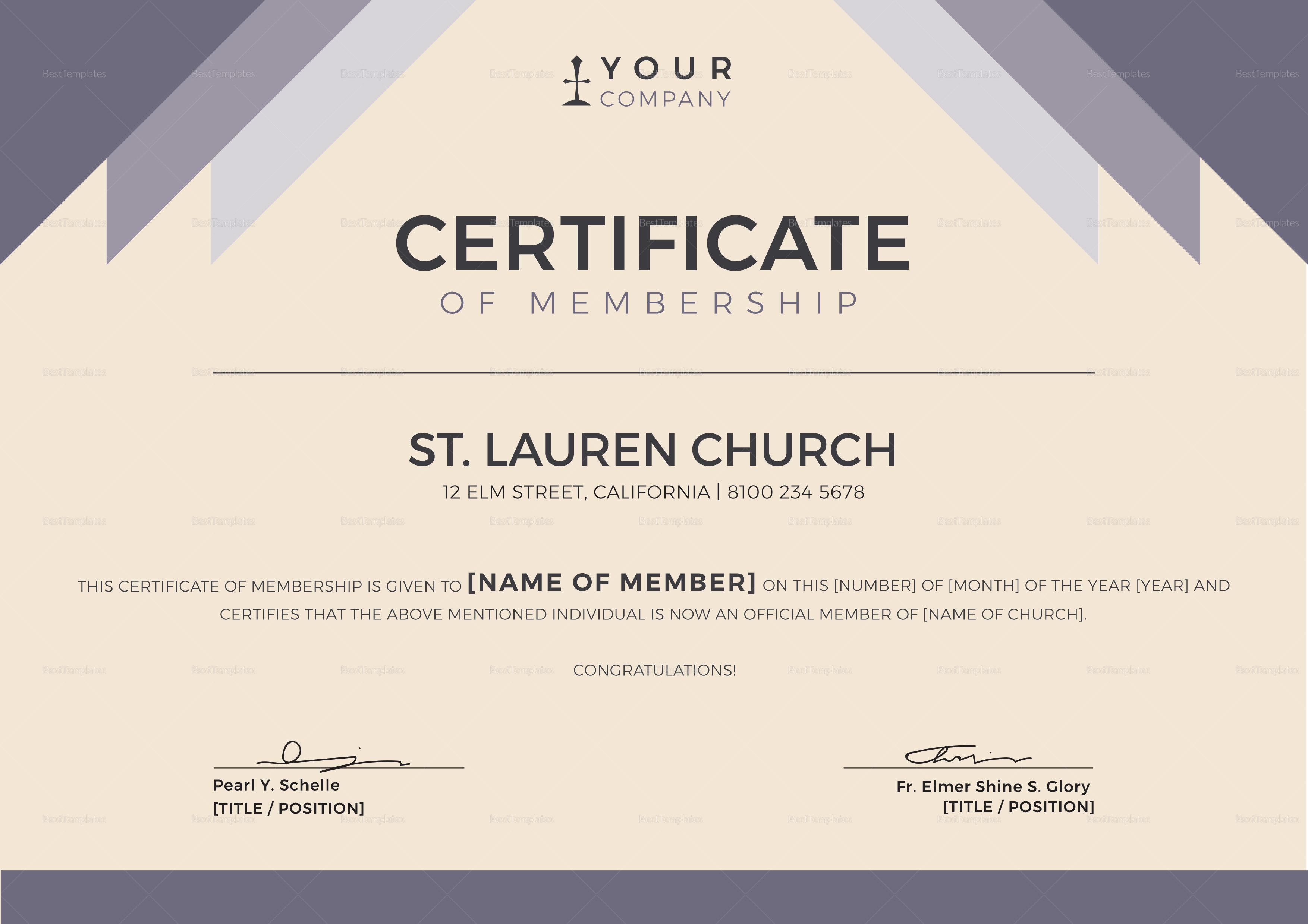 New Member Certificate Template 1