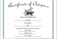 Pet Adoption Certificate Template 12