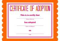 Pet Adoption Certificate Template 2