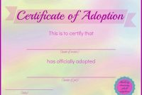 Pet Adoption Certificate Template 7