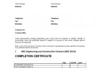 Practical Completion Certificate Template Jct 11