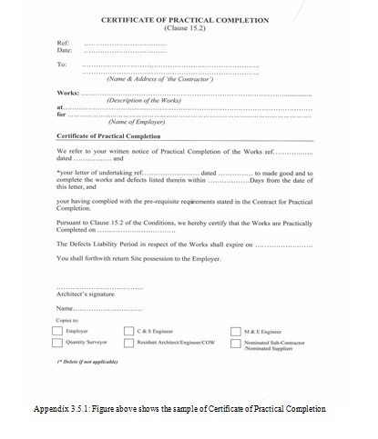 Practical Completion Certificate Template Jct 7