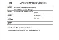 Practical Completion Certificate Template Jct 8