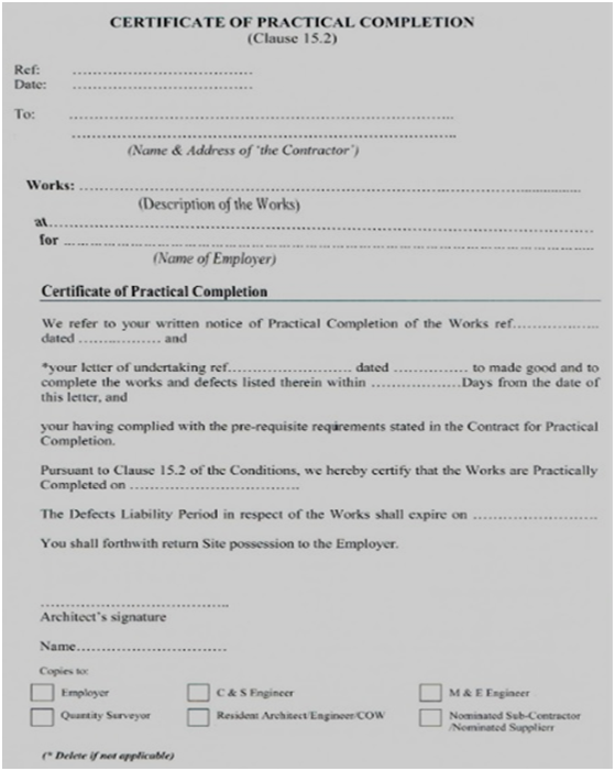Practical Completion Certificate Template Uk 4