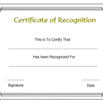 Printable Certificate Of Recognition Templates Free