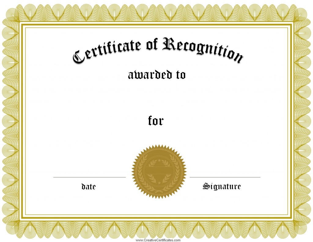 Printable Certificate Of Recognition Templates Free 9