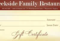 Restaurant Gift Certificate Template 2