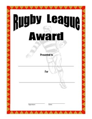 Rugby League Certificate Templates 3