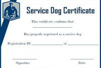 Service Dog Certificate Template 0