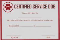 Service Dog Certificate Template 1