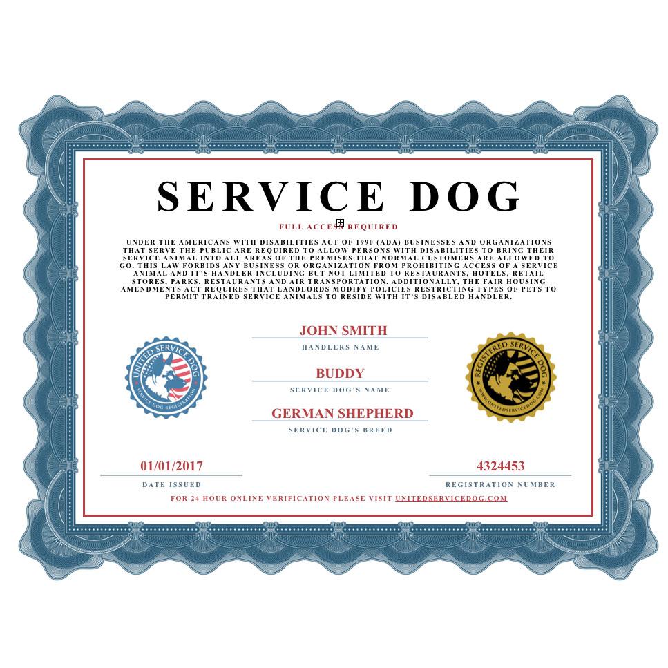 Service Dog Certificate Template 6