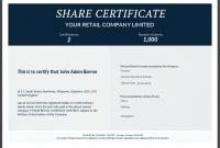 Share Certificate Template Australia 6