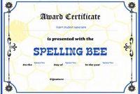 Spelling Bee Award Certificate Template 6