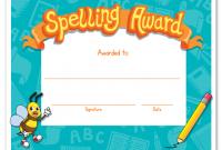 Spelling Bee Award Certificate Template 7