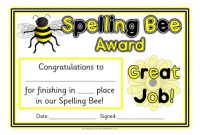 Spelling Bee Award Certificate Template 9