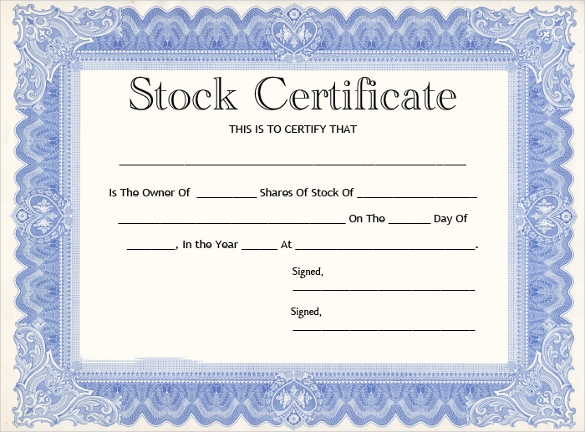 Stock Certificate Template Word 7
