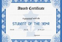 Student Of the Year Award Certificate Templates 2