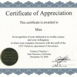 Template for Certificate Of Appreciation In Microsoft Word