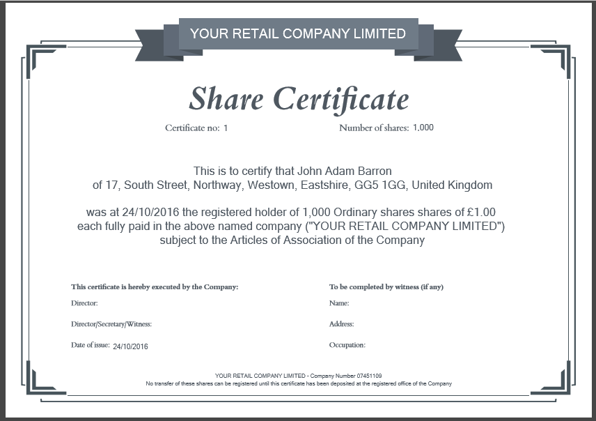 Template For Share Certificate 3