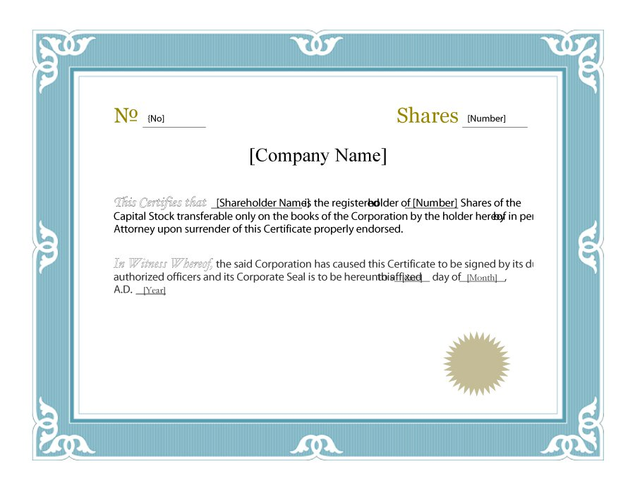 Template For Share Certificate 4