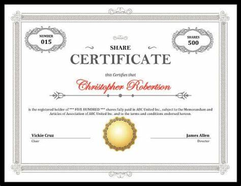 Template For Share Certificate 7