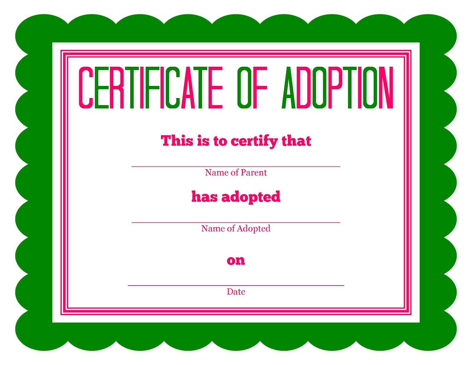 Toy Adoption Certificate Template 10