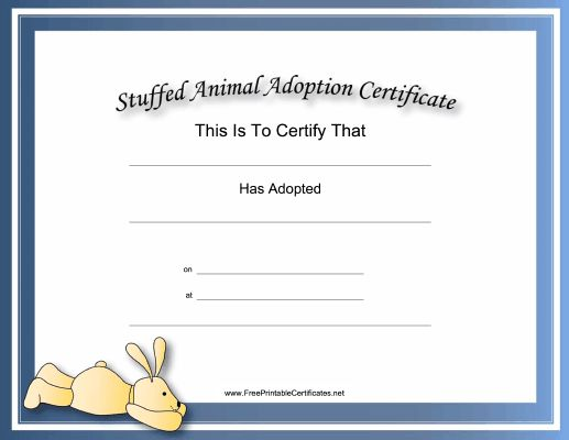 Toy Adoption Certificate Template 4
