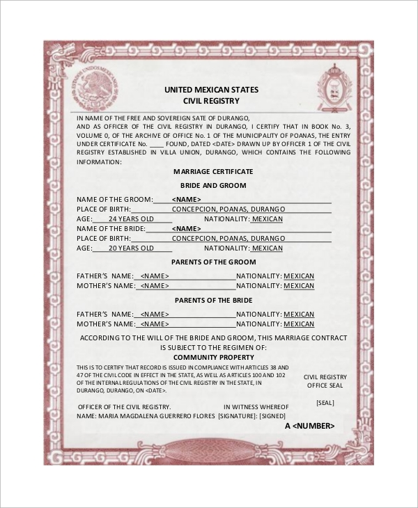 Translation Of Marriage Certificate