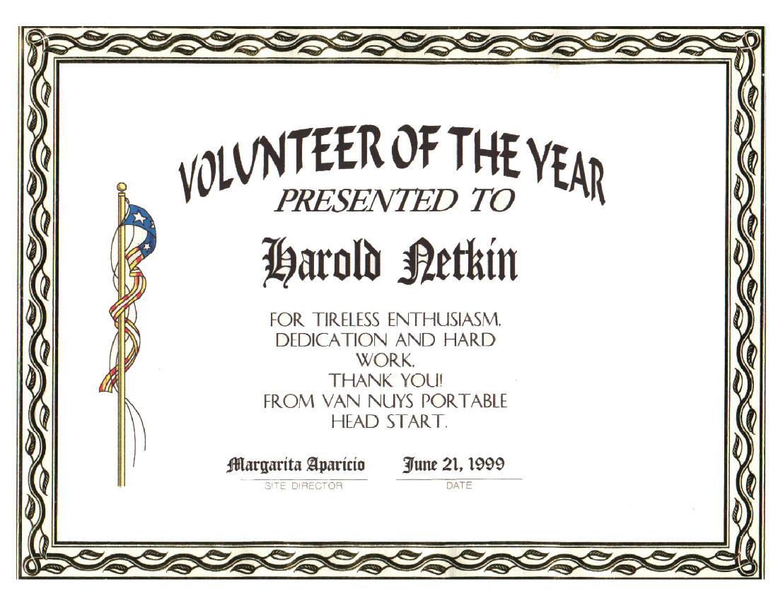 Volunteer Award Certificate Template V4